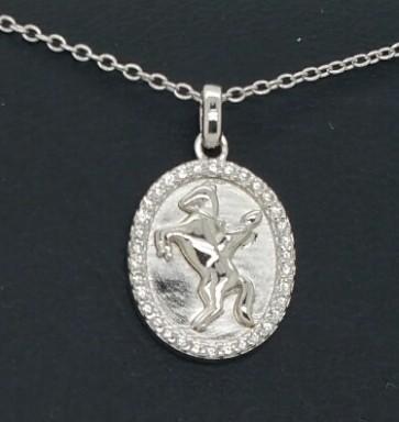 Halskette Pferd Silber oval mit Steinchen
